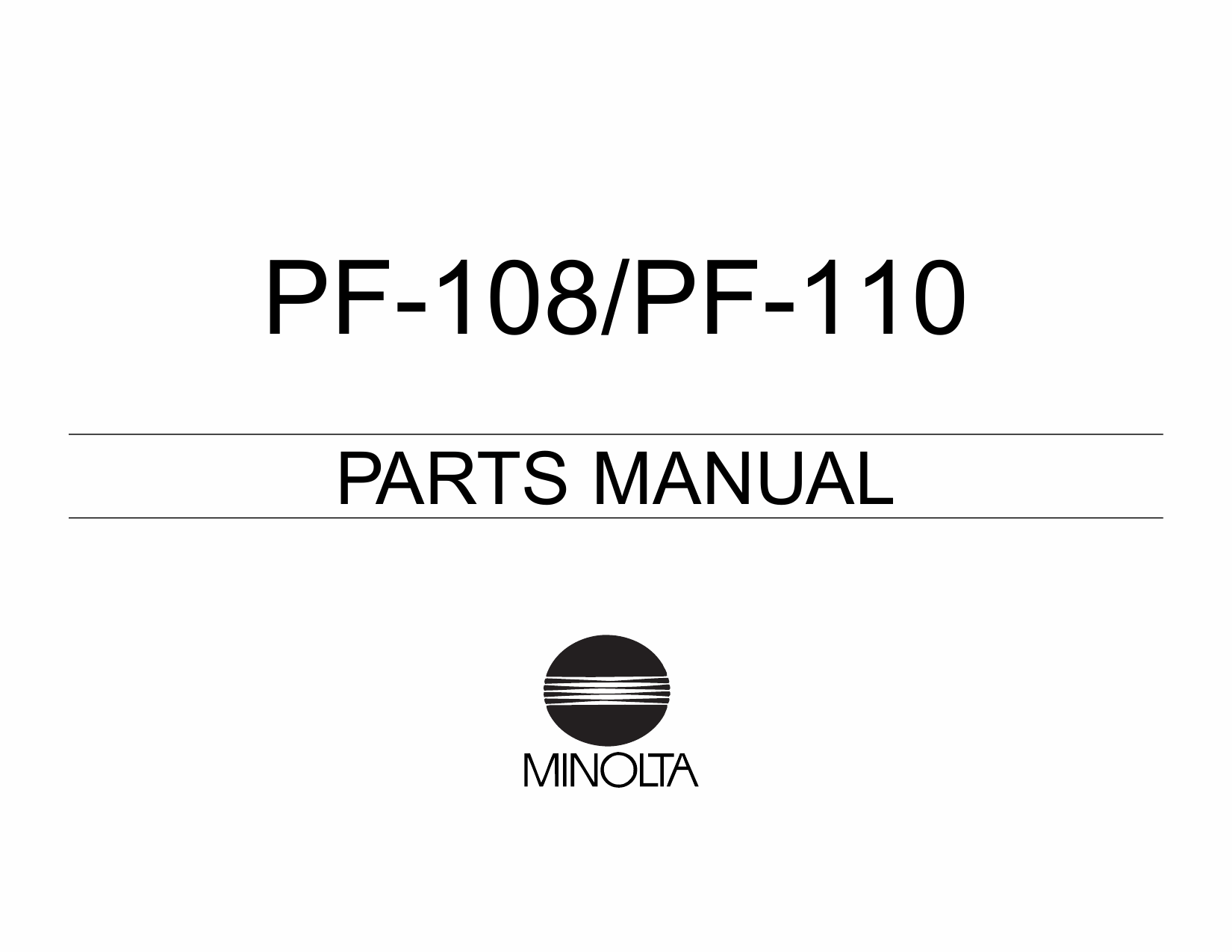 Konica-Minolta Options PF-108 110 Parts Manual-1